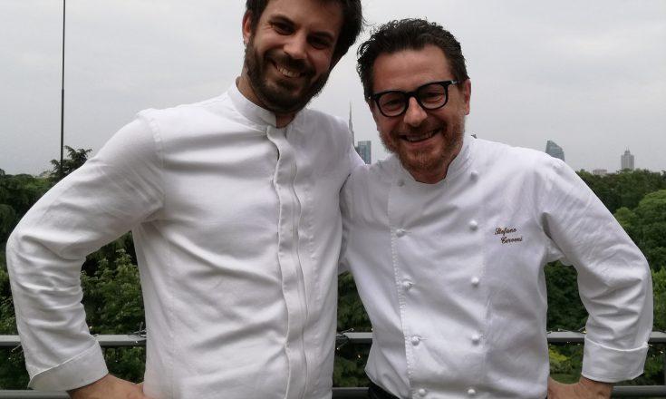 Stefano Cerveni e Matteo Ferrario, chef di Terrazza Triennale Osteria con vista